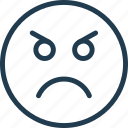 angry, emoji, emoticon, emotion, face, smile icon