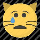 crying cat face, emoji, emotag, emoticon, emotion icon