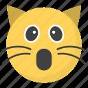 astonished cat face, emoji, emotag, emoticon, emotion icon