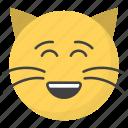 emoji, emotag, emoticon, emotion, smiling cat face icon