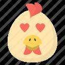 egg emoji, emotag, emoticon, emotion, heart eyes egg icon