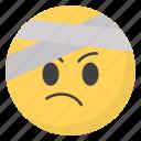 emoji, emotag, emoticon, emotion, head bandage emoji icon