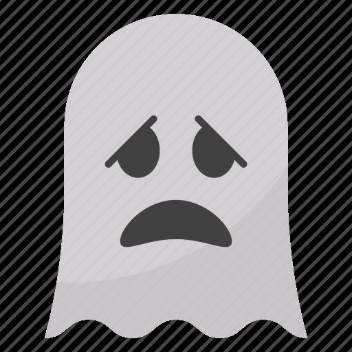 confused ghost, emoji, emotag, emoticon, emotion icon