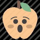 astonished apple, emoji, emotag, emoticon, emotion icon