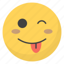 emoji, emotag, emoticon, emotion, winking eye face icon