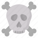 cranium, crossbones, halloween, skeleton, skull icon