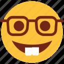cartoon, emoji, emotion, face, glasses, happy, smile