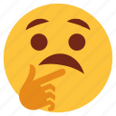 cartoon, character, emoji, emotion, face, gesture, thinking icon