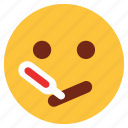 cartoon, character, emoji, emotion, face, sick, thermometer icon
