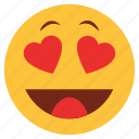 cartoon, character, emoji, emotion, face, heart, love icon