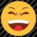 cartoon, emoji, emotion, face, happy, loud, smile