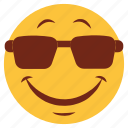 cartoon, emoji, emotion, face, glasses, happy, smile