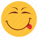 cartoon, emoji, emotion, face, happy, smile, tongue