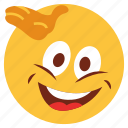cartoon, emoji, emotion, face, hand, happy, smile