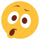 cartoon, character, emoji, emotion, face, shock, surprise icon