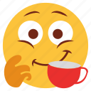 cartoon, character, cup, drink, emoji, emotion, face icon