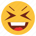 cartoon, emoji, emotion, face, happy, loud, smile
