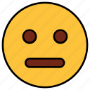 boring, cartoon, dull, emoji, emotion, face, stare icon