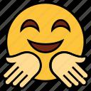 cartoon, emoji, emotion, face, hand, happy, smile