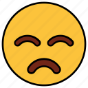 bemused, cartoon, emoji, emotion, face, nodding, sad icon
