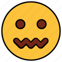 cartoon, character, emoji, emotion, face, nervous, sad icon