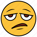 bored, cartoon, character, emoji, emotion, face, tired icon