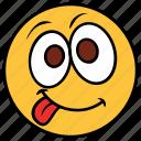 cartoon, emoji, emotion, face, happy, smile, tongue