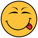 cartoon, emoji, emotion, face, happy, smile, tongue icon