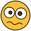 cartoon, character, emoji, emotion, face, sad, shock icon