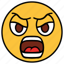 angry, annoyed, cartoon, character, emoji, emotion, face