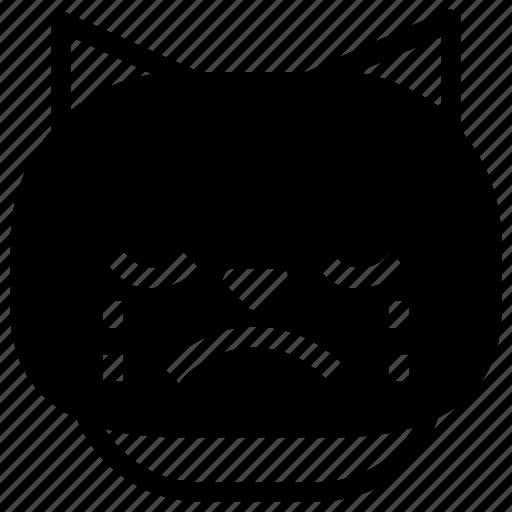 cat, cry, emoticon, sad icon