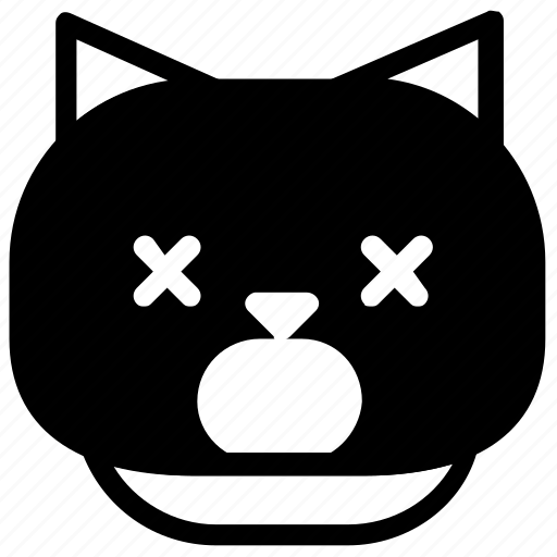 cat, emoticon, tired icon