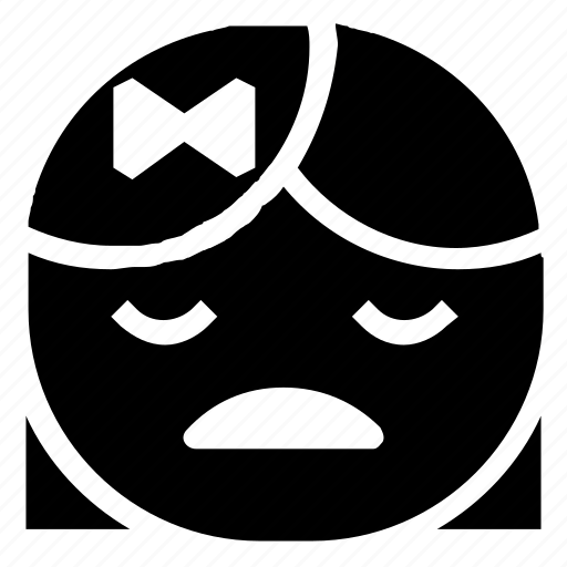 emoticon, girl, unhappy icon