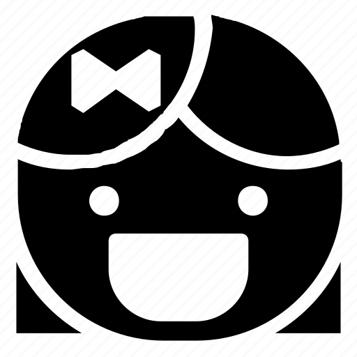 emoticon, girl, grin, laugh icon
