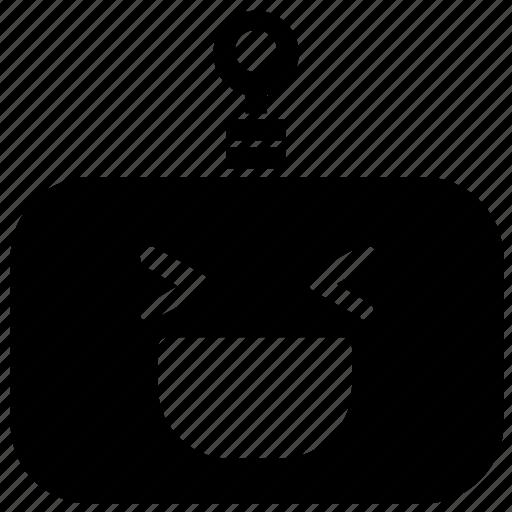 emoticon, grin, laugh, robot icon