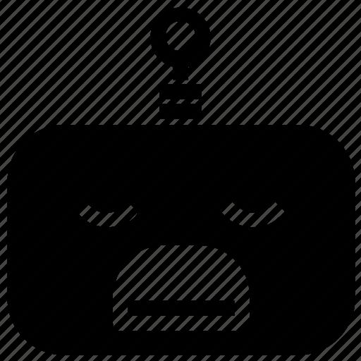 emoticon, robot, sad icon