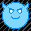 devil, emoji, emoticon, face, smile