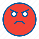 angry, emoji, emoticon, face