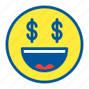 dollar, emoji, emoticon, face, money icon