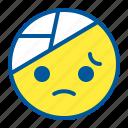 bandage, emoji, emoticon, face, sick