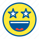 emoji, emoticon, face, smile, star icon