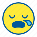 emoji, emoticon, face, sleep, tired icon