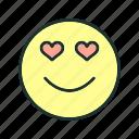 emoji, face, looking, love, smile icon