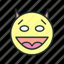 devil, face, happy, smile icon
