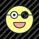 emoji, face, glasses, happy icon