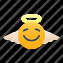 angel, emoji, expression, feeling, emotional, halo, good icon