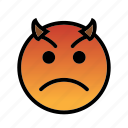 angry, devil, evil, smiley, upset icon