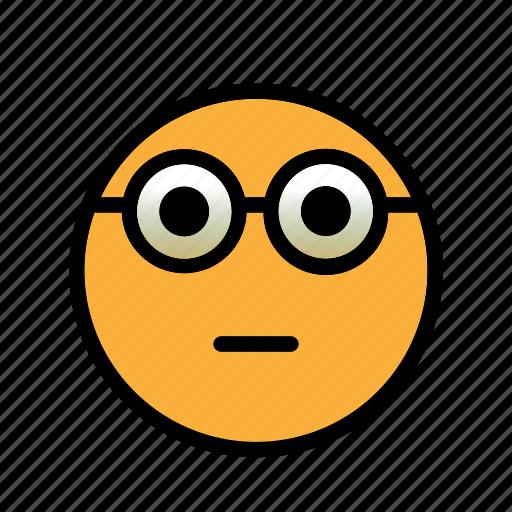glasses, nerd, smiley icon