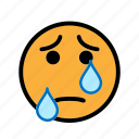 cry, sad, smiley, tear icon