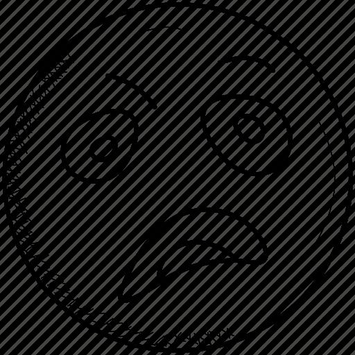 depressed, emoji, face, frowning, sad, unamused icon